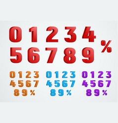 Set of 3d numbers from 0 to 9 and a percentage vector