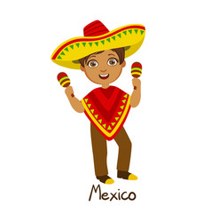 boy in mexico country national clothes wearing vector image vector image