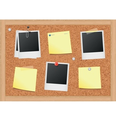 Cork bulletin board with notes and photos vector