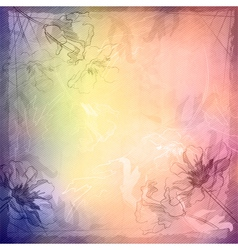 Grunge vintage sketch flowers background vector image
