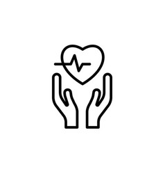 heart in hands icon on white background vector image