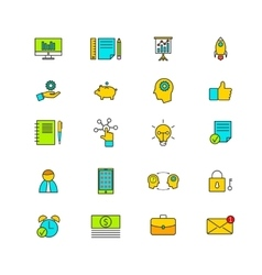 Line icons with flat design elements vector image