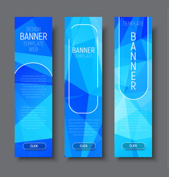 vertical banners with polygonal abstract blue vector image