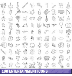 100 entertainment icons set outline style vector image