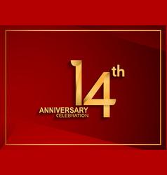 14 anniversary celebration logotype golden color vector