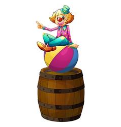 A ball with a clown above wooden barrel vector