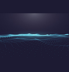 Abstract digital ocean with flowing particles and vector