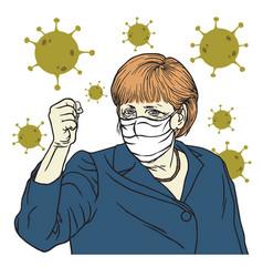 Angela merkel speech wearing mask anti coronavirus vector