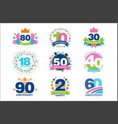 anniversary birthdays festive signs set ubilee vector image