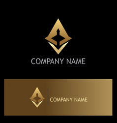 arrow triangle technology gold logo vector image