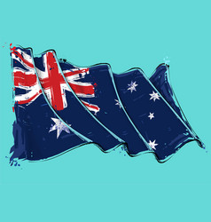 australian artistic brush stroke waving flag vector image