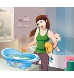 Bathing baby vector