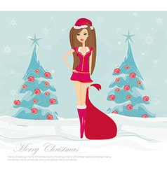 Beautiful sexy girl wearing santa claus clothes vector