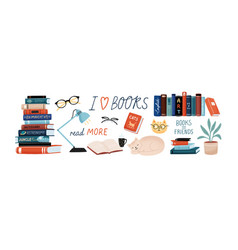 books and reading set textbooks for academic vector image