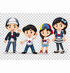 Boys and girls from south korea vector