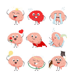 brain cartoon characters making sport exercises vector image