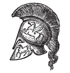 Bronze helmets vintage engraving vector