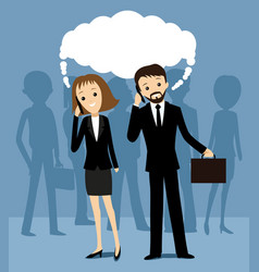 business people talking on a cell phone vector image