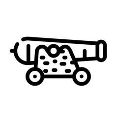 Cannon pirate line icon vector
