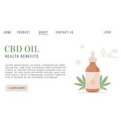 Cbd hemp oil web banner in organic color vector