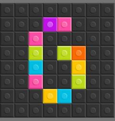 colorful brick block letter g flat design vector image