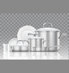 Crockery and cookware realistic icon set vector