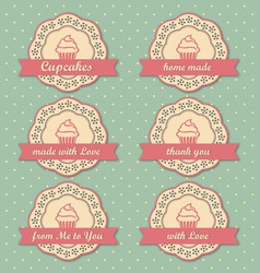 Cupcakes retro style tags set on retro polka dots vector