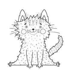 Cute cat or kitten outline coloring book page vector