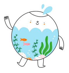Cute little aquarium character with fish vector