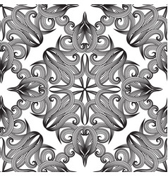 damask black and white seamless pattern vintage vector image