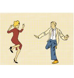 Dancing couple retro party active pastime vector