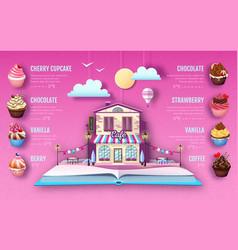 dessert cupcake menu design cut out paper art vector image