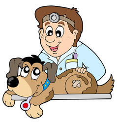 dog at veterinarian vector image