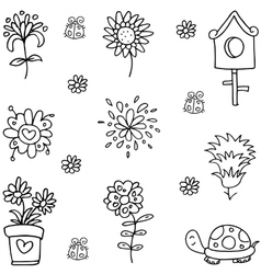 Doodle of flower set spring vector