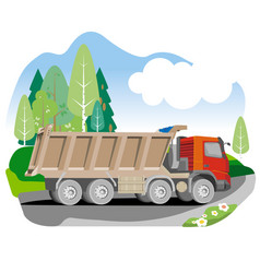 Drawing red tipper dump truck vector