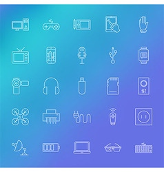 Electronic Gadgets Line Icons Set over Blurred vector