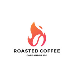 fire flame hot roasted coffee logo icon vector image