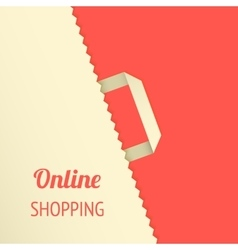 Flat background with shopping bag vector image