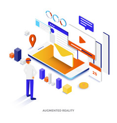 flat color modern isometric - augmented reality vector image