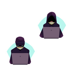 Flat hackers with laptop set isolated vector