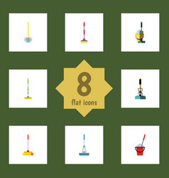Flat icon broomstick set of bucket equipment vector