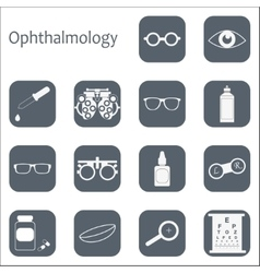 Flat optometry icon set with long shadow vector