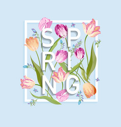 floral spring design for card sale banner poster vector image