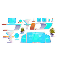 Futuristic classroom stuff set modern supplies vector