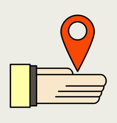 Geolocation bar sign hand holds city map gps vector