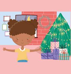 girl tree gifts wall frames window merry christmas vector image