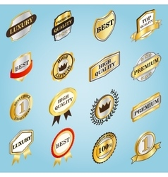 Golden labels set icons isometric 3d style vector image