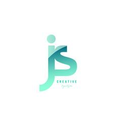Green gradient pastel modern js j s alphabet vector
