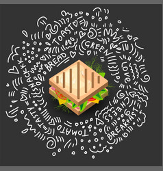 grilled sandwich icon in cartoon style vector image