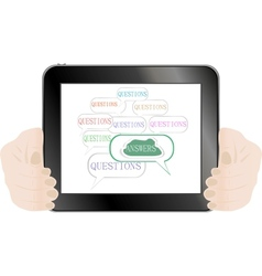 Hands holding tablet pc isolated on white vector